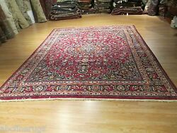 Estate 10x13 Circa 1960 Gorgeous Museum Handmade-knotted 100 Wool Rug 582641