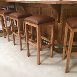 Set Of 4 Custom Mackinac Solid Oak And Leather 32 Stools - Made In Michigan