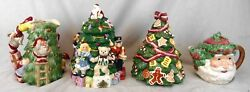 Lot Of 4 Pieces Of Santa Christmas China Cookie Jars Etc Fitz And Floyd Spode