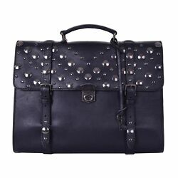 DOLCE & GABBANA Studded Vintage Messenger Backpack Cross Body Bag Black 06267