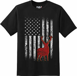 Deer American Flag Hunting Patriotic  Cool Gift T Shirt  New Graphic Tee
