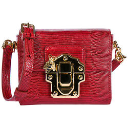 DOLCE&GABBANA WOMEN'S LEATHER CROSS-BODY MESSENGER SHOULDER BAG LUCIA RED 52E