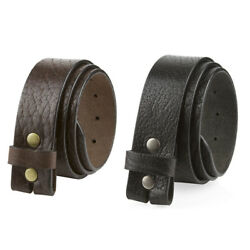 One Piece Genuine Full Grain Leather Belt Strap Snap On 1-1/2 Wide Made In Usa