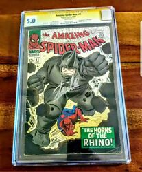 Spiderman #41 1966 Silver Age CGC 5.0 Signed Stan Lee White Pages 1st Rhino Key!