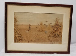 Antique A. B. Frost Chromolithograph Print Kennedy Galleries Sporting Shooting
