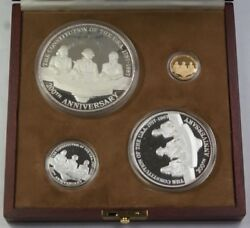 Mexico Commem Set For Us Constitution 1/4 Oz Gold 12, 5 And 1 Oz Silver Coins