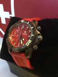 Victorinox Swiss Army Red Dial Dive Master 500 Menand039s Chronograph Watch Rare Item