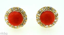 Superb Antique 1940s Retro Red Coral And Diamond Cluster Stud Earrings Ear Clips