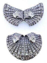 AUCOC 1920s Art Deco Double Clip Butterfly Heart 20Ct Diamond Brooch in Platinum