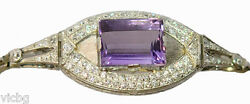 Antique 1920s Georges Fouquet Diamond and Amethyst Bracelet in Platinum French