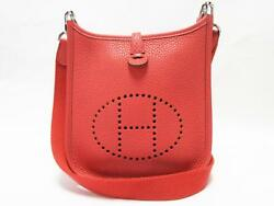 Authentic HERMES Evelyne TPM Shoulder Cross body Bag Red Clemence Leather Used
