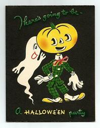 VINTAGE 1950's Volland HALLOWEEN Ghost Jack O-Lantern Man Party Invitation Card