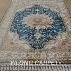YILONG 5.5'x8' Hand Knotted Silk Persian Rug Indoor Home Interior Carpet 1693