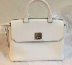 New MCM Milla Backpack Bag White Crossbody Messenger Handbag Leather