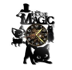 House of Magic Watch Vinyl Record Wall Clock Living Room Home Decor Gift Idea