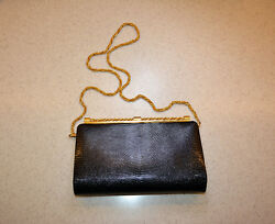 Authentic Gucci Vintage 70's Black Lizard Purse or Clutch with Gold Pla