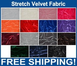 Stretch Velvet Fabric by The Yard 58 60quot; Wide Many Colors Free Shipping $13.95