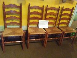 Tellcity 2312 Ladder Back Chairs, Rare Short Spindle Style, Set Of Four