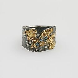 Sterling Silver, 22k Yellow Gold, Blue And White Diamond Ring. Size 9 3/4