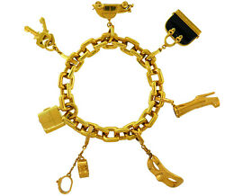 LOUIS VUITTON Onyx Yellow Gold Charm BRACELET French LV Iconic Charms