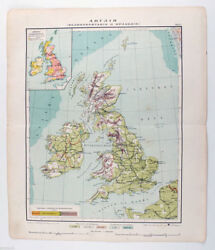 1910s Imperial Russia Antique Color Russian MAP of ENGLAND and IRELAND