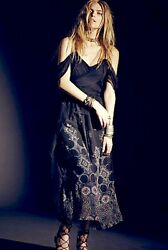 NWT Free People Special Edition black Off The Shoulder Chiffon Maxi Dress 2