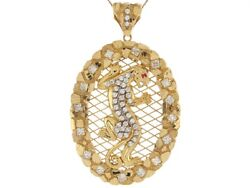 10k Or 14k Two Tone Real Gold With Cz Accents Cougar 9.55cm Pendant