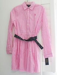 Ralph Lauren Girls Striped Long Sleeve Shirtdress Pink White Sz 16 NWT