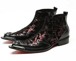 Mens New Stylish Leather Floral Metal Pointed Toe Zipper Ankle Boots Shoes 1945