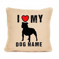 I Love My Staffie Staffordshire Bull Terrier Personalised Cushion Gift For Dog