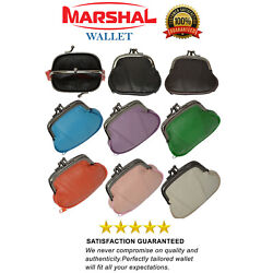 GENUINE LEATHER WOMEN#x27;S SMALL COIN PURSE CHANGE HOLDER DOUBLE CLASP COLOR CHOICE $8.49