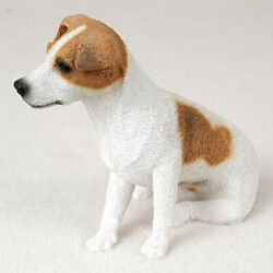 Jack Russell Figurine Hand Painted Collectible Statue BrownWht Smooth