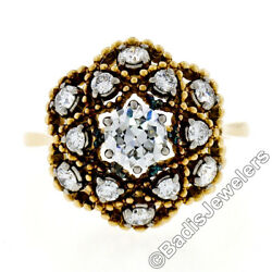 Antique 18k Gold 1.03ctw European Transitional Diamond Cluster Beaded Dome Ring