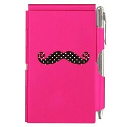 1631 Wellspring Flip Note W/pen Pink And Black Mustache And White Polka Dots Pocket