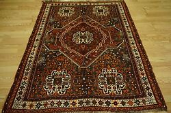 Rare Persian Qashqai Shiraz Red-Orange Gold Blue Haibatlu Medallion Design 5x6