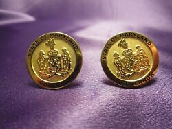 State Of Maryland Governor Gold Tone Cuff Links Robert L Ehrlich Signature