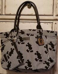 RARE! NWT DOONEY & BOURKE Disney Mickey Mouse Large Striped Gwenny Tote+Wristlet