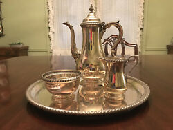 Coffee Service Including Sterling Silver Tray Coffee Pot Creamer And Sugar Bowl