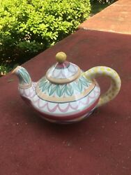Mackenzie-childs Vintage Ceramic Teapot- signed By Victoria and Dated