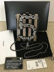 NWT Auth Chanel Number 5 Crystal Black Gold Minaudiere Clutch Bag Handbag $11000