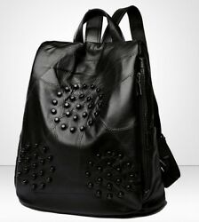 Women New Studded Backpack Black Genuine Leather Studs Red Quilted Messenger Bag