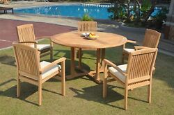 A-grade Teak 6pc Dining 60 Round Table 5 Wave Stacking Arm Chair Set Outdoor