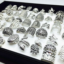 Wholesale 50pcs Mix Styles Silver Metal Womenand039s Retro Jewelry Rings