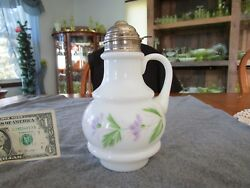 Antique White Milk Glass Ring Hand Painted Syrup Pitcher