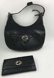 GUCCI Perforated Leather Reins Hobo Shoulder Bag and wallet Black
