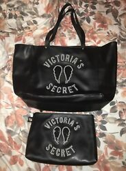 Victoria's Secret Angel Wing Pearl Sequin Faux Leather Tote & Makeup Bag RARE