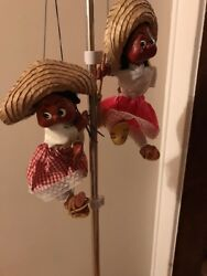 Vintage Mexican Marionette Puppets X2 Strings B50