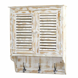 White Washed Rustic Style Painted Wood 32 Wall Cabinet Shelf With Hanging Hooks