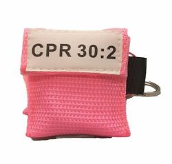50 Pink Cpr Face Shield Mask In Pocket Keychain Imprinted Cpr 302