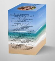 Footprints in the Sand poem with Photo and Personalized Cremation Urn